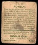1933 Goudey Indian Gum #28  Pontiac   Back Thumbnail