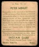 1933 Goudey Indian Gum #72  Peter Minuit   Back Thumbnail