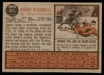 1962 Topps #411  Danny O'Connell  Back Thumbnail