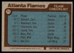 1977 Topps #71   Flames Team Checklist Back Thumbnail