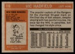 1972 Topps #110  Vic Hadfield  Back Thumbnail
