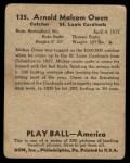 1939 Play Ball #135  Mickey Owen  Back Thumbnail