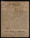 1939 Play Ball #114  Cecil Travis  Back Thumbnail