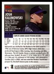 2000 Topps Traded #45 T Josh Kalinowski  Back Thumbnail