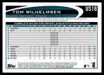 2012 Topps Update #18  Tom Wilhelmsen  Back Thumbnail