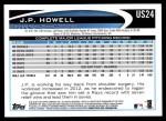 2012 Topps Update #24  J.P. Howell  Back Thumbnail