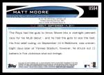 2012 Topps Update #64  Matt Moore  Back Thumbnail