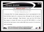 2012 Topps Update #76  Adam Dunn  Back Thumbnail