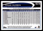 2012 Topps Update #78  Chad Durbin  Back Thumbnail