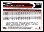 2012 Topps Update #95  Edward Mujica  Back Thumbnail