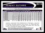 2012 Topps Update #114  Jeremy Guthrie  Back Thumbnail