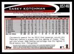 2012 Topps Update #146  Casey Kotchman  Back Thumbnail
