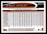 2012 Topps Update #214  Jeremy Affeldt  Back Thumbnail