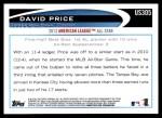 2012 Topps Update #305  David Price  Back Thumbnail