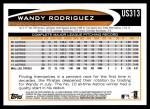 2012 Topps Update #313  Wandy Rodriguez  Back Thumbnail