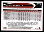 2012 Topps Update #330  Alex Burnett  Back Thumbnail