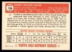 1952 Topps REPRINT #156  Frank Hiller  Back Thumbnail