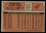 1972 Topps #645  Jim Maloney  Back Thumbnail
