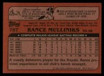 1982 Topps Traded #78 T Rance Mulliniks  Back Thumbnail