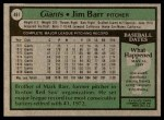 1979 Topps #461  Jim Barr  Back Thumbnail