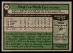 1979 Topps #138  Mark Lee  Back Thumbnail