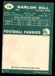 1960 Topps #16  Harlon Hill  Back Thumbnail