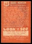 1952 Topps Look 'N See #68  Isaac Newton  Back Thumbnail