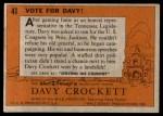 1956 Topps Davy Crockett #41   Vote For Davy!  Back Thumbnail