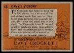 1956 Topps Davy Crockett #48   Davy's Victory  Back Thumbnail