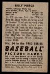 1952 Bowman #54  Bill Pierce  Back Thumbnail