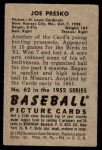 1952 Bowman #62  Joe Presko  Back Thumbnail