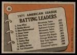 1972 Topps #86   -  Bobby Murcer / Tony Oliva / Merv Rettenmund AL Batting Leaders   Back Thumbnail