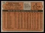 1972 Topps #135  Vada Pinson  Back Thumbnail