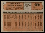1972 Topps #80  Tony Perez  Back Thumbnail