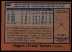 1978 Topps #600  Frank Tanana  Back Thumbnail