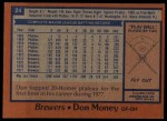 1978 Topps #24  Don Money  Back Thumbnail