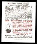 1948 Bowman REPRINT #67  Lee Mogus  Back Thumbnail
