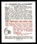 1948 Bowman REPRINT #43  Chuck Halbert  Back Thumbnail