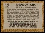 1958 Topps TV Westerns #12   Deadly Aim  Back Thumbnail