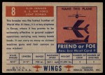 1952 Topps Wings #8   B-26 Invader Back Thumbnail