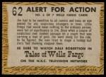 1958 Topps TV Westerns #62   Alert for Action  Back Thumbnail