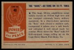 1954 Bowman Power for Peace #40   The Barc - 60 Tons on 10 ft. Tires Back Thumbnail