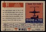 1952 Topps Wings #91   IL-18 Back Thumbnail