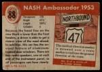1954 Topps World on Wheels #88   Nash Ambassador 1953 Back Thumbnail