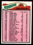 1977 Topps #228   Redskins Team Checklist Front Thumbnail