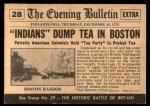 1954 Topps Scoop #28   Boston Tea Party  Back Thumbnail