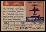 1952 Topps Wings #84   IL-4 Back Thumbnail
