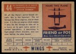 1952 Topps Wings #44   AJ Savage Back Thumbnail