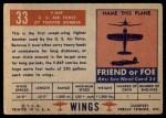 1952 Topps Wings #33   F-84F Back Thumbnail