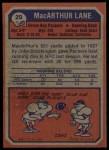 1973 Topps #29  MacArthur Lane  Back Thumbnail